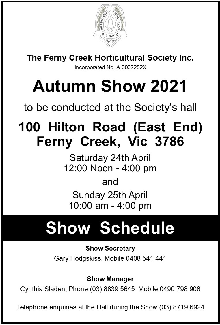 Autumn Show 2021 Schedule Cover